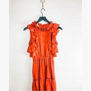 DRA women's Anthropologie burnt orange dress S